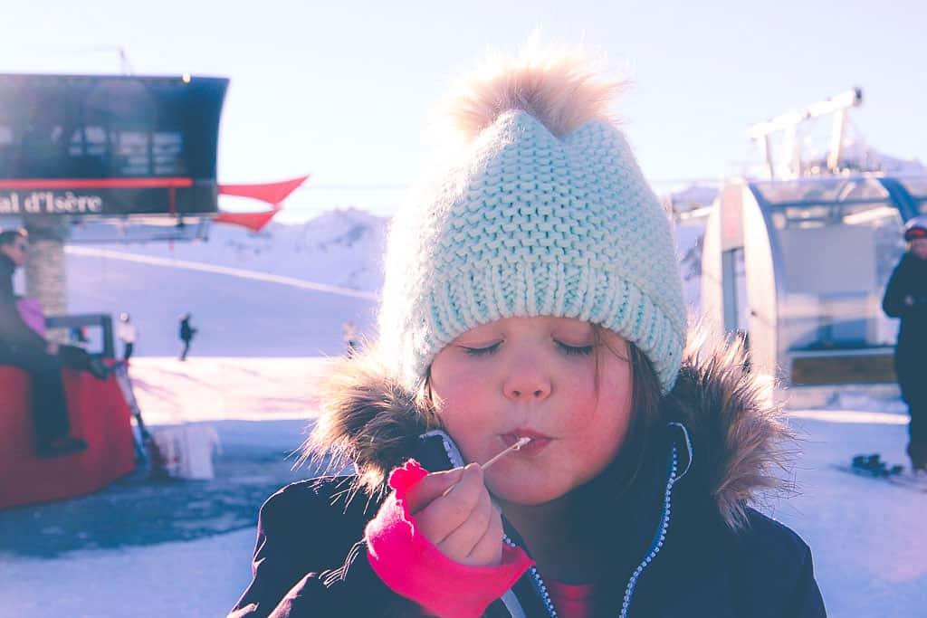 Having a hot chocolate in Val d'Isere