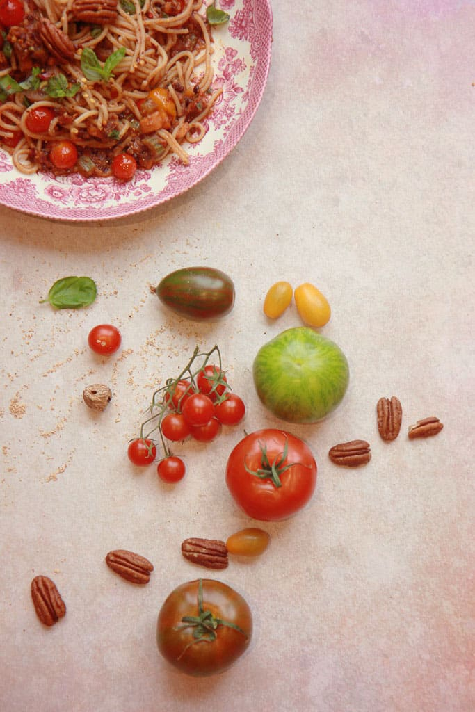 Heritage tomatoes for vegan bolognese