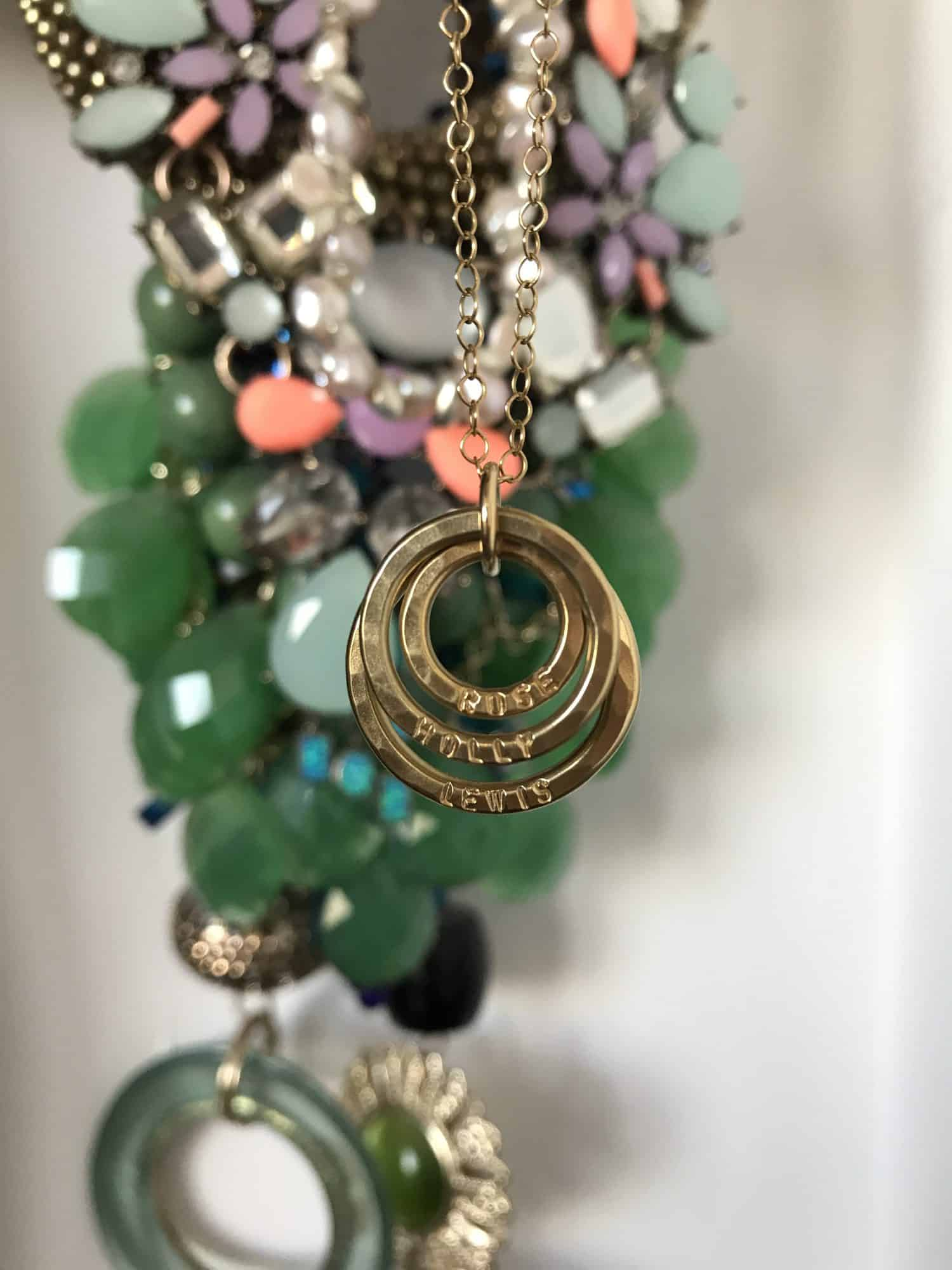 Family names three ring necklace from Posh Totty designs