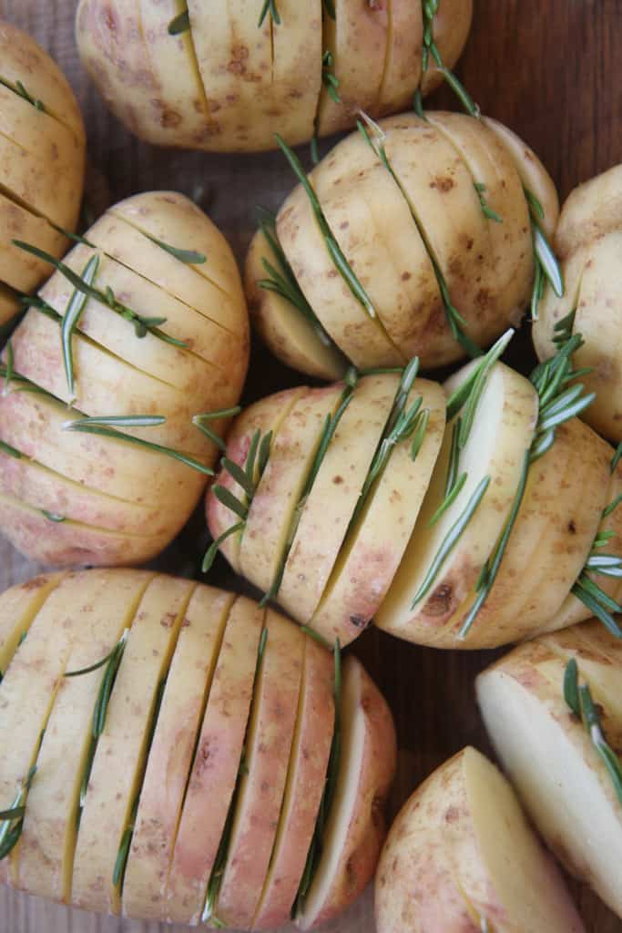 hasselback potatoes stuffed with rosemary