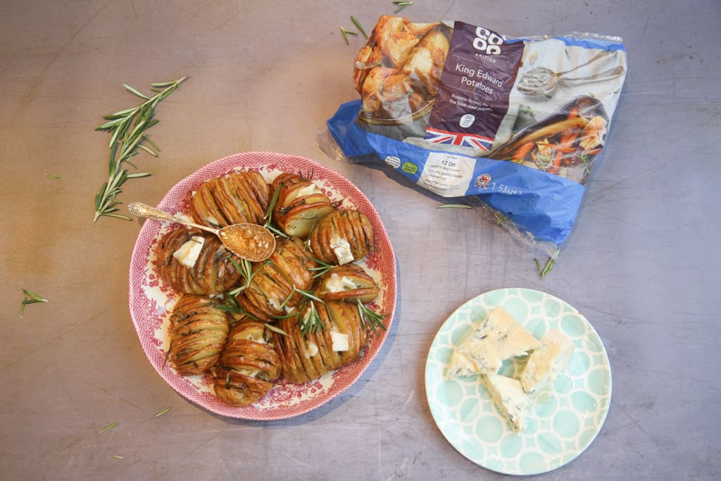Hasselback potatoes made with king Edward potatoes from the Co-op