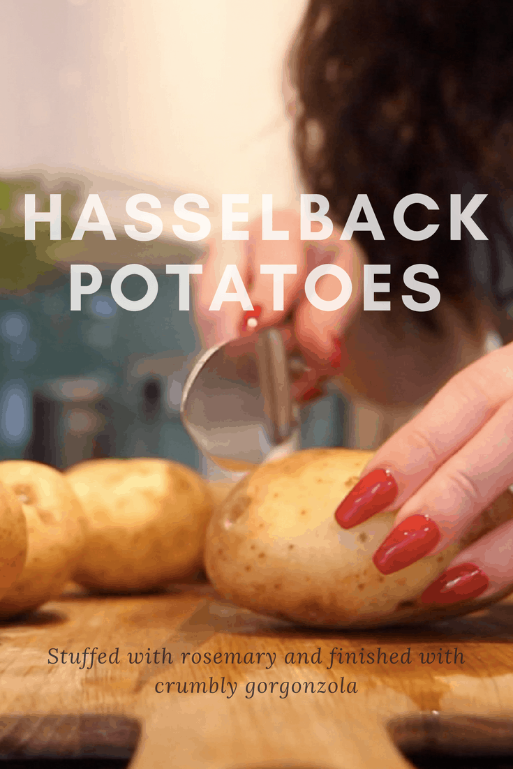 How to make perfect hasselback potatoes, stuffed with rosemary, baked to a crisp in the oven, drizzled with runny honey and topped off with oozy gorgonzola cheese