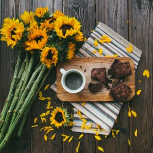 Brownies with a bunch of sunflowers