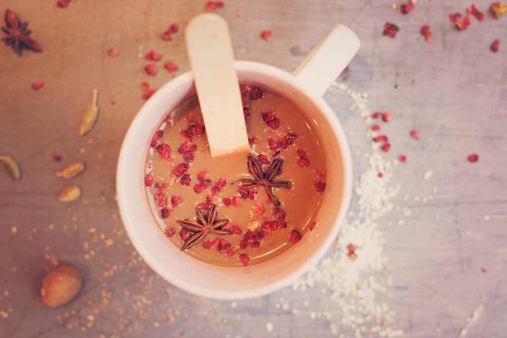 hot chocolate made with homemade dark hot chocolate stirrers