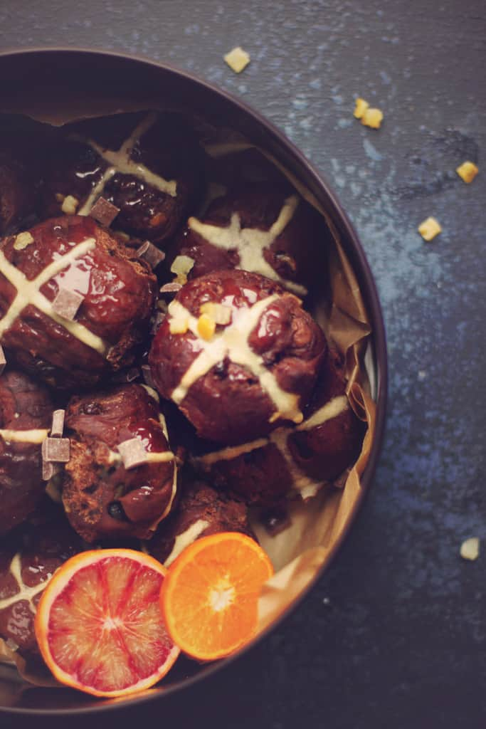 double chocolate orange hot cross buns
