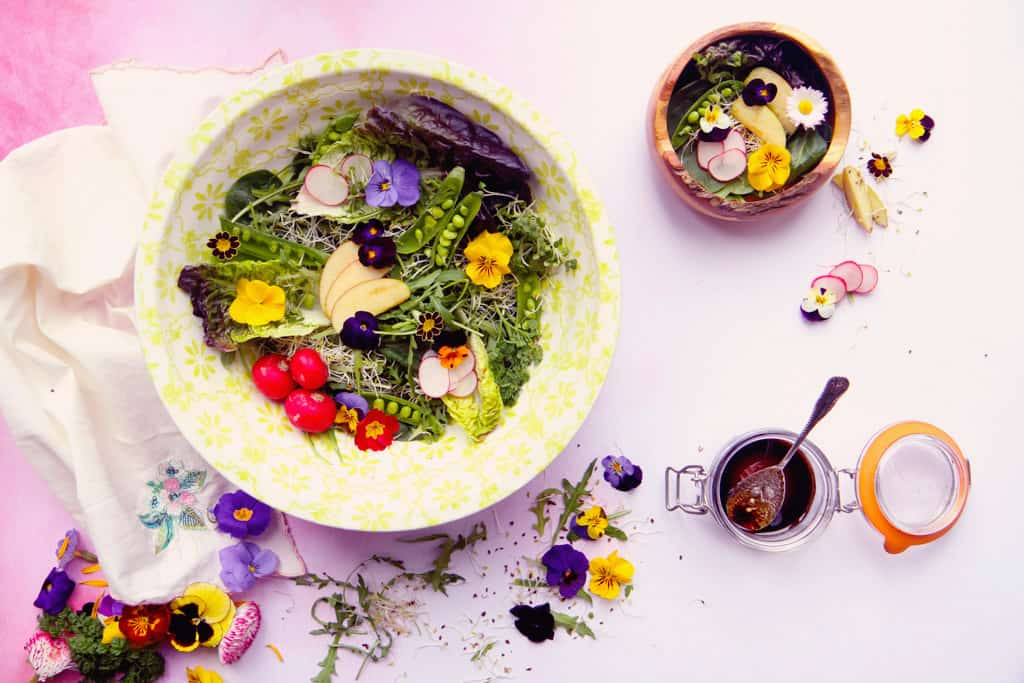 Edible flower salad with a balsamic dressing