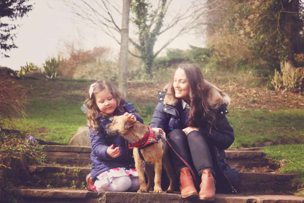 Mother, daughter and their dog