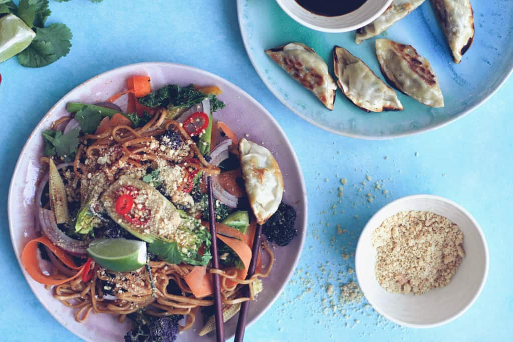 Vegan Pad Thai with gyozu dumplings and a bowl or crushed peanuts