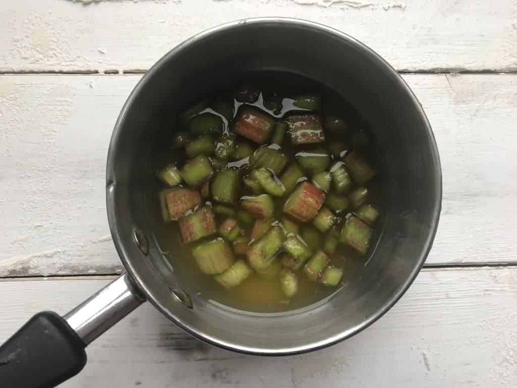 Rhubarb trimmings in a saucepan