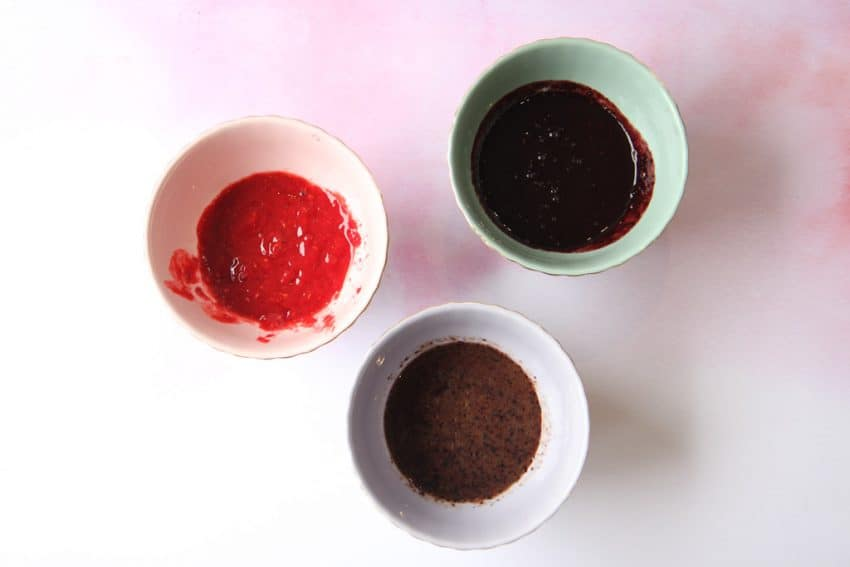 bowls of puréed berries