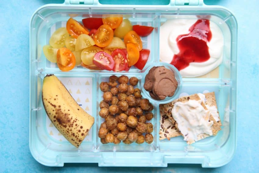 Overhead shot of a bento box back to school lunch ideas
