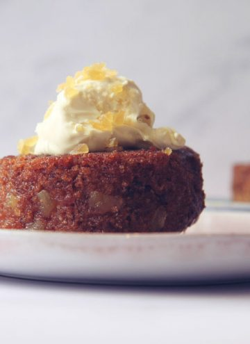 Two individual sticky ginger cakes