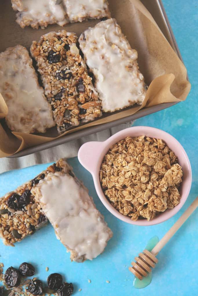 Overhead view of yoghurt coated granola bars