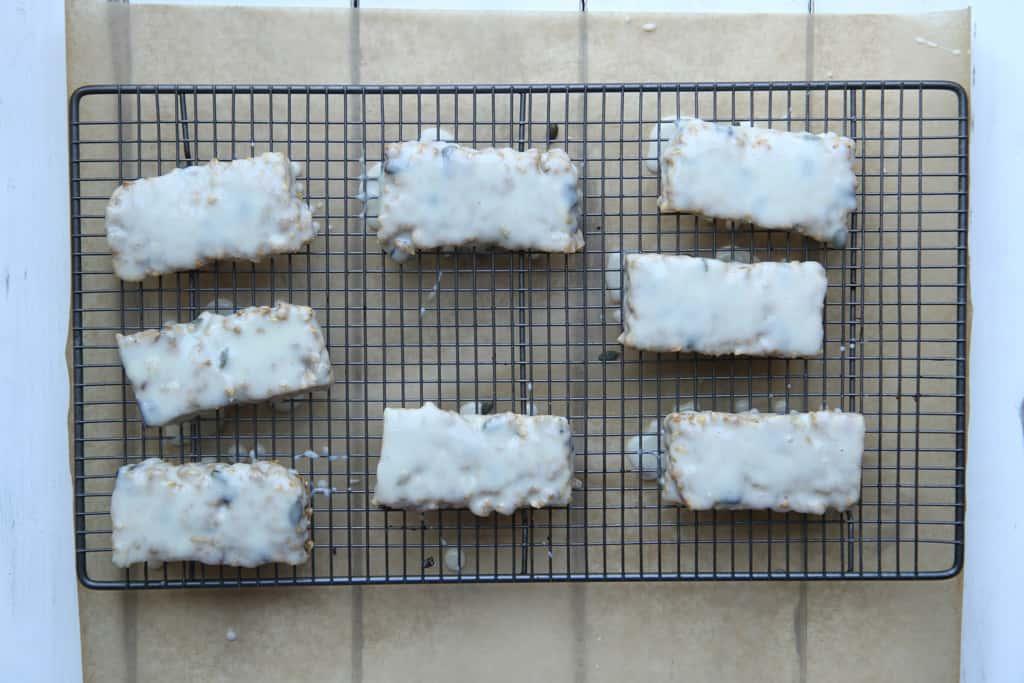 Overhead shot of 8 yoghurt coated granola bars