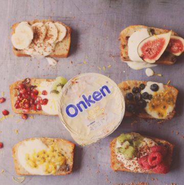 Slices of banana bread with a pot of Onken yoghurt