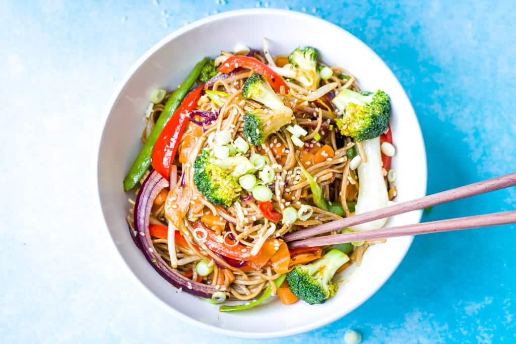 a bowl of vegetable teriyaki noodles