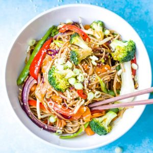 a bowl of vegetable teriyaki stir fry