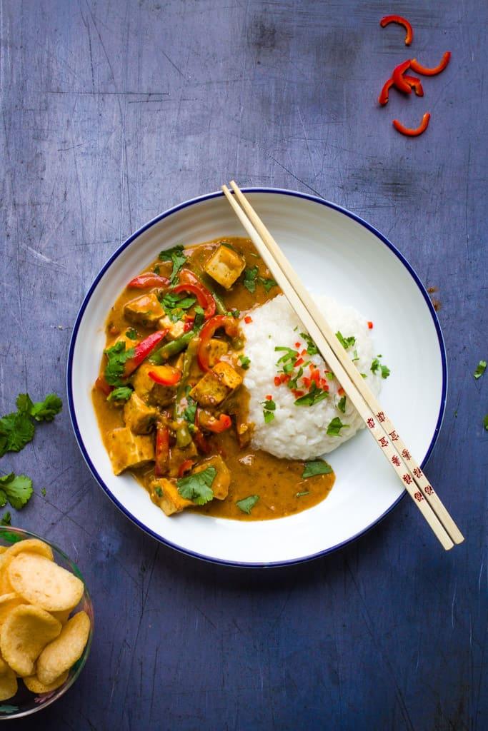 Indonesian Tofu Satay with sticky rice