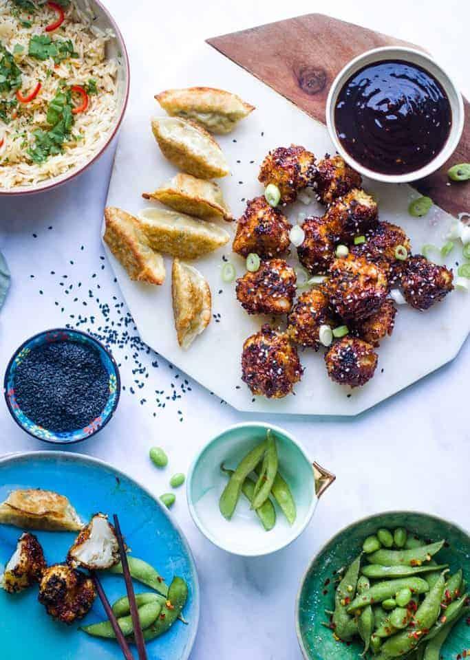 Teriyaki Cauliflower Wings, Edamame Beans and gyozu
