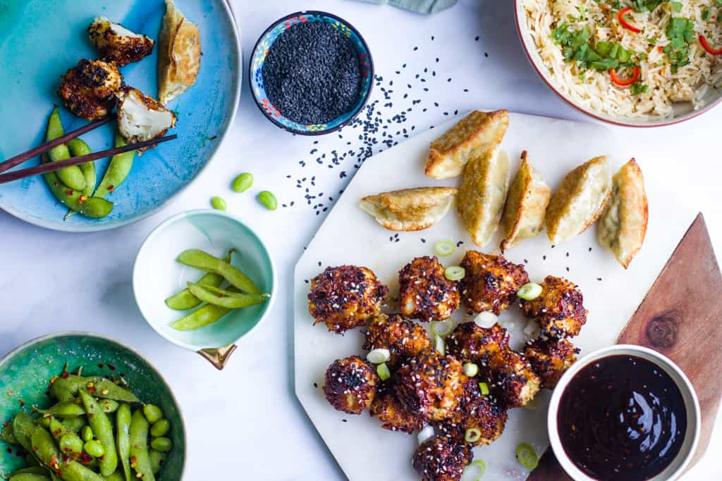 Teriyaki Cauliflower Wings with Teriyaki dipping sauce, gyozu pancakes and edamame beans
