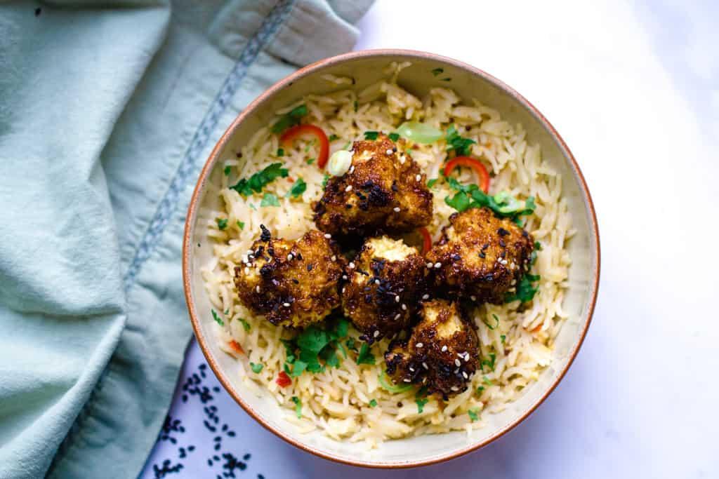 Teriyaki Cauliflower Wings with rice