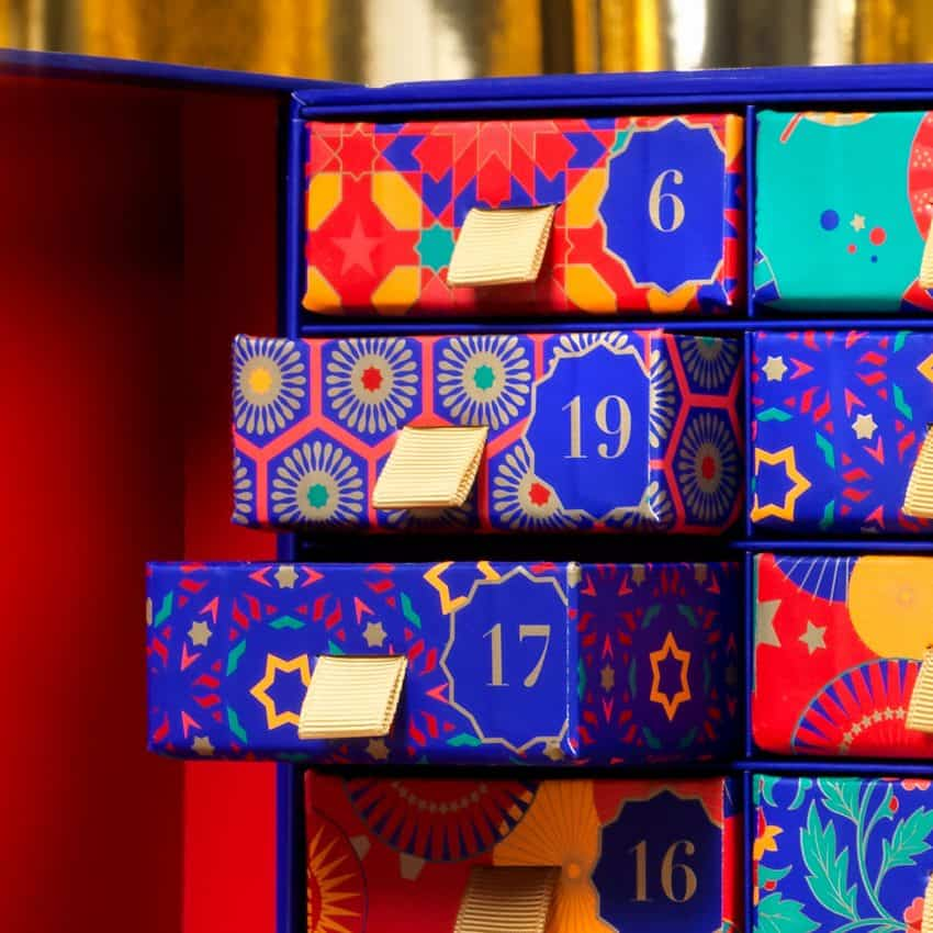 Close up of Whittards tea advent calendar