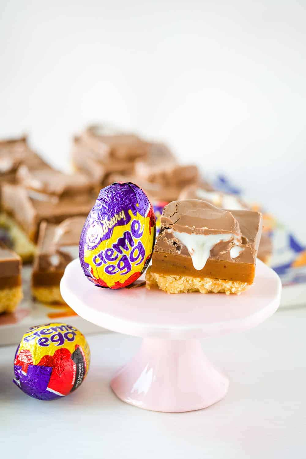 A slice of creme egg caramel shortbread