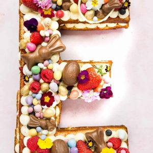 An Easter Letter cake in the shape of the letter E