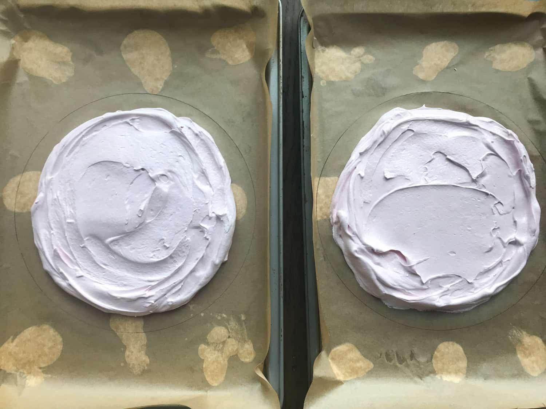 Spreading meringue into a disc shape