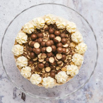 Overhead view of a Malteser cheesecake on a glass cake stand
