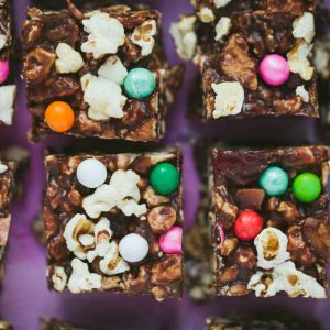 Close up of popcorn rocky road squares