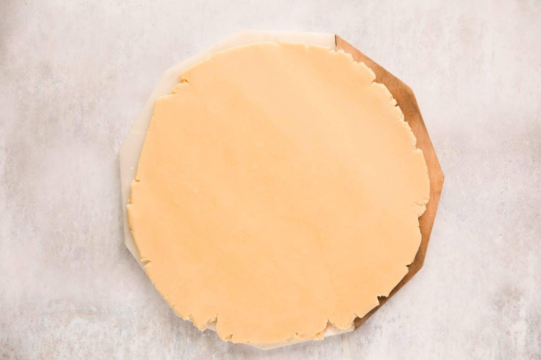 A sheet of vanilla cookie dough.
