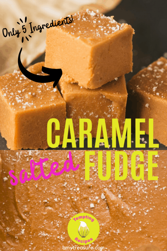 a pinterest image for Salted Caramel Fudge