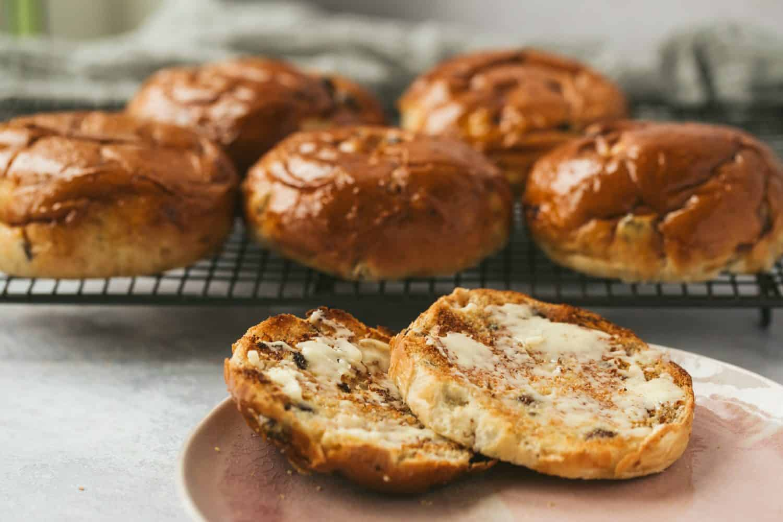 Freshly baked sweet buns.