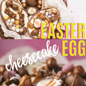 Easter Egg Cheesecake pinterest image with text overlay.