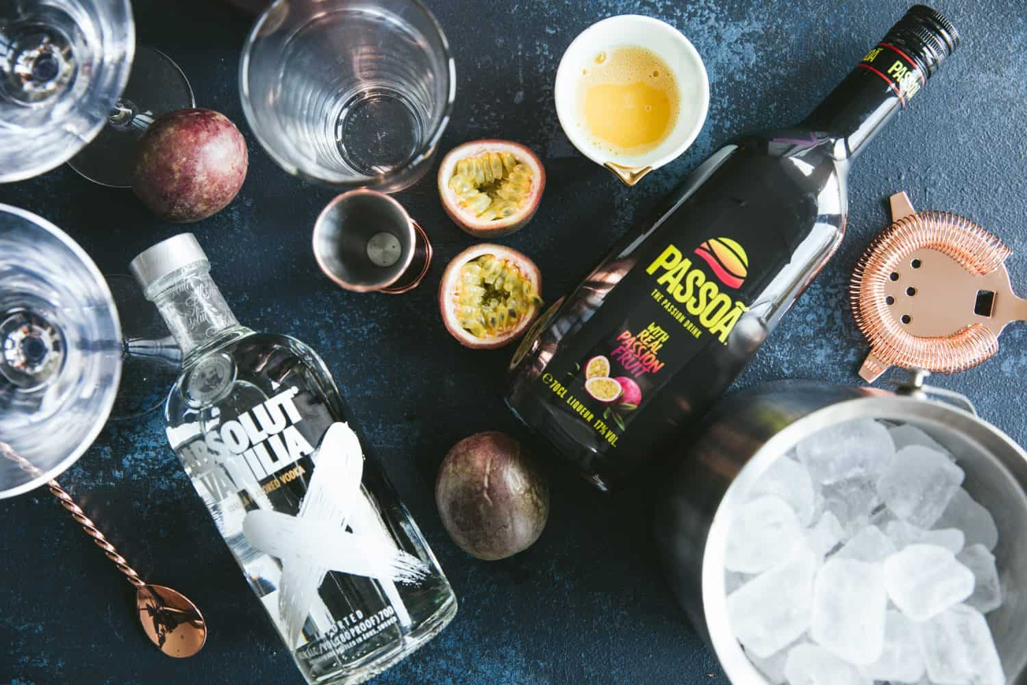 Ingredients for a Passion Fruit martini.