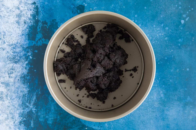 A tin containing mixture for a cheesecake base.