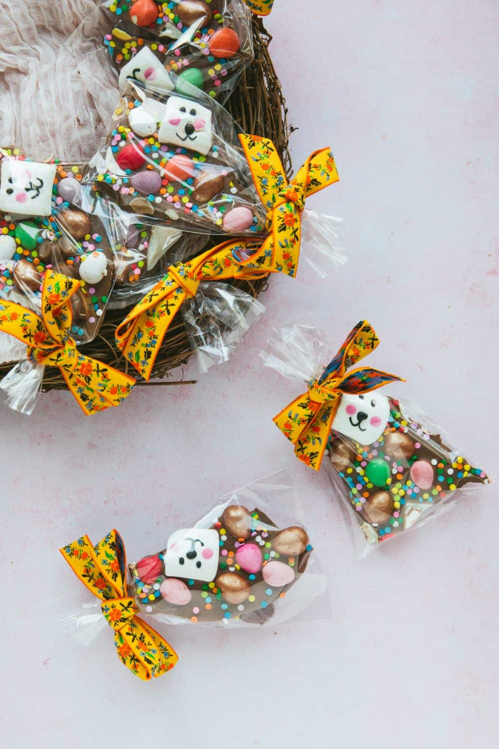 Cellophane bags containing chocolate bark.
