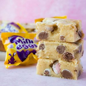 A stack of three mini egg blondies