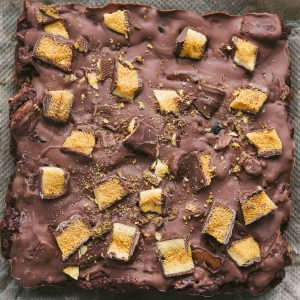 Close up of Crunchie chocolate tiffin
