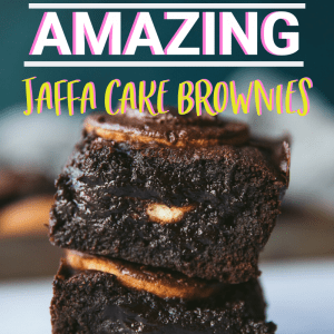 Jaffa cake brownies pinterest image with text overlay.