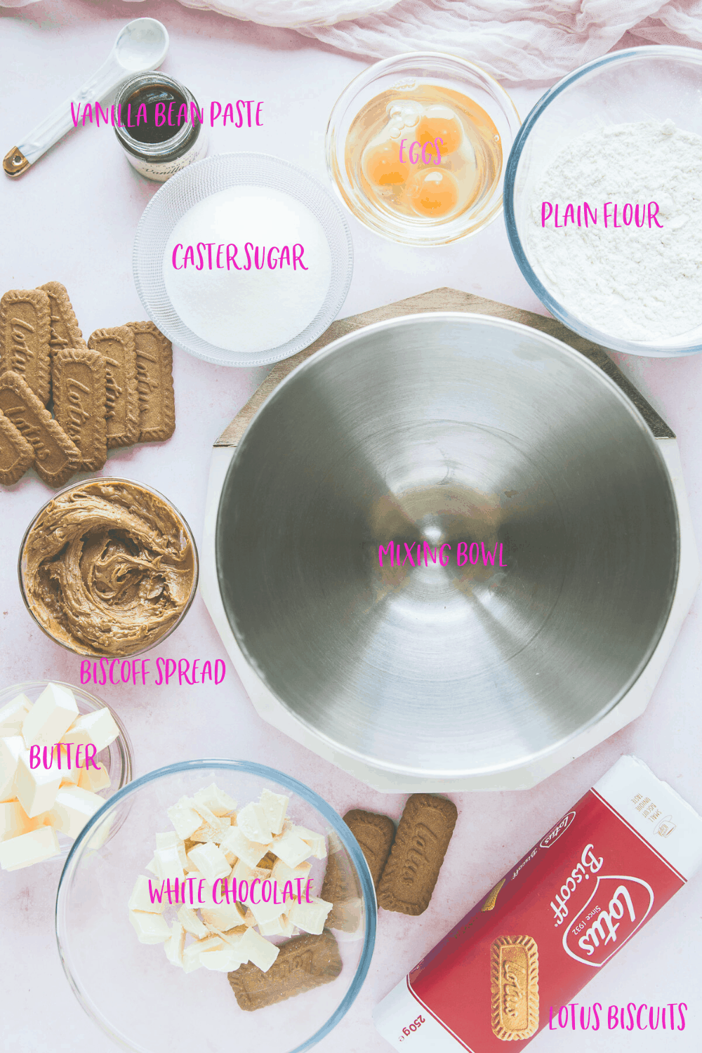 The ingredients needed for the best Lotus Biscoff and White Chocolate blondies.
