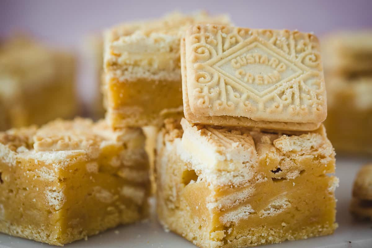 Classic British biscuits alongside a homemade blondie.