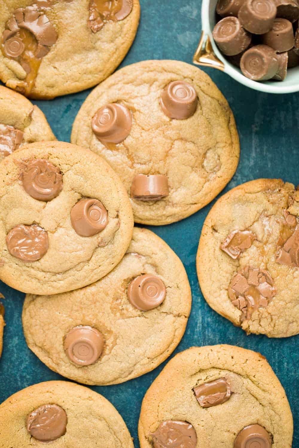 Soft and chewy cookies with melted rolos and chocolate chips.