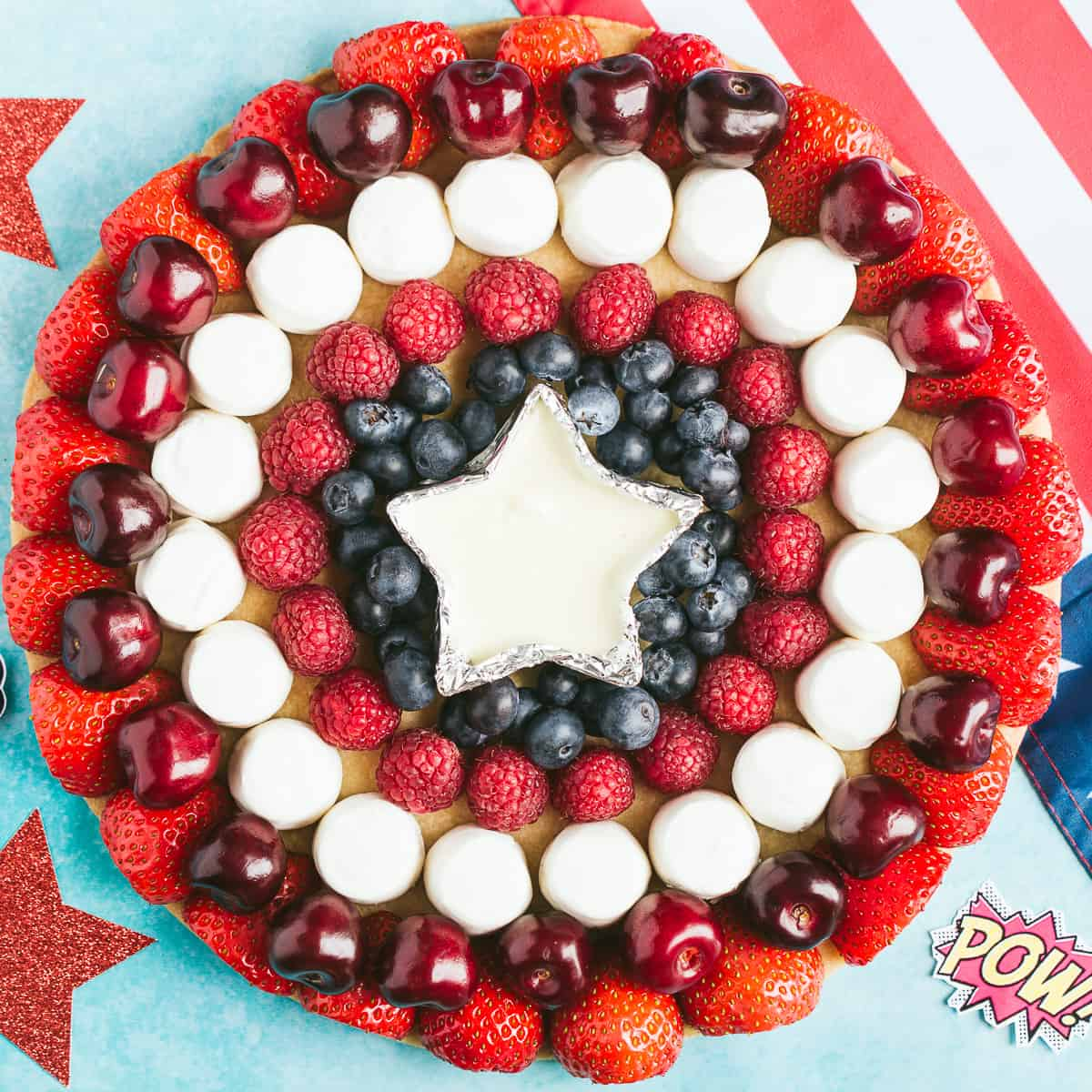A fruit shield with the pattern of Captain America's shield.