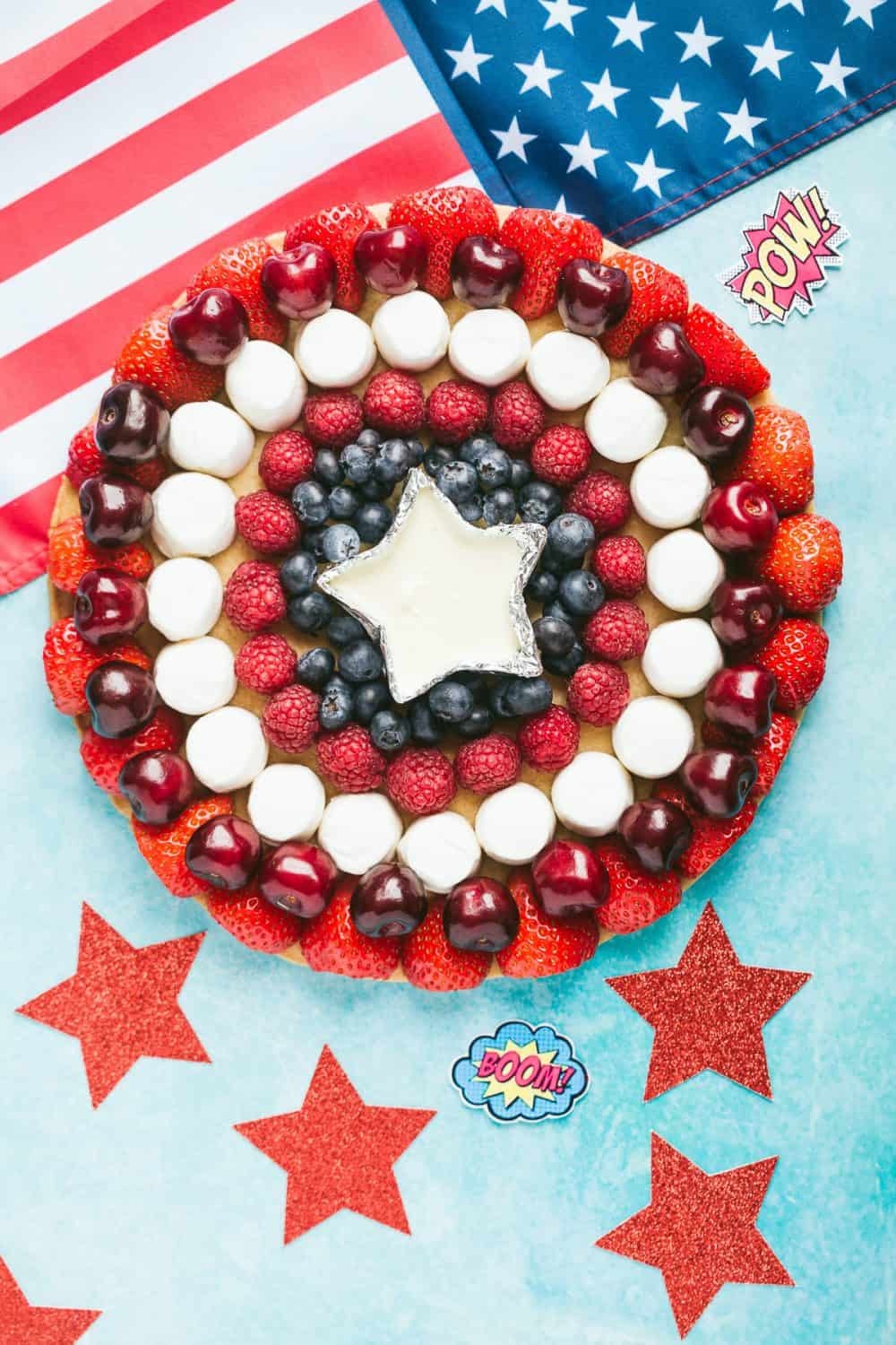 A fruit platter in the shape of Captain America's shield.