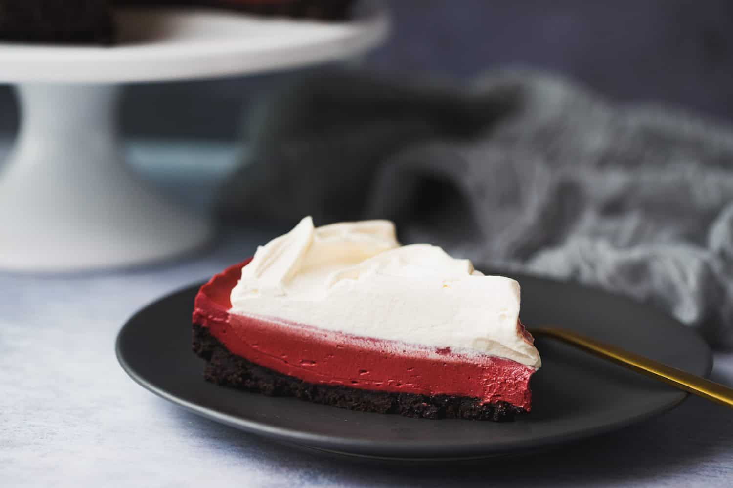 Red velvet cheesecake with Oreo crust.