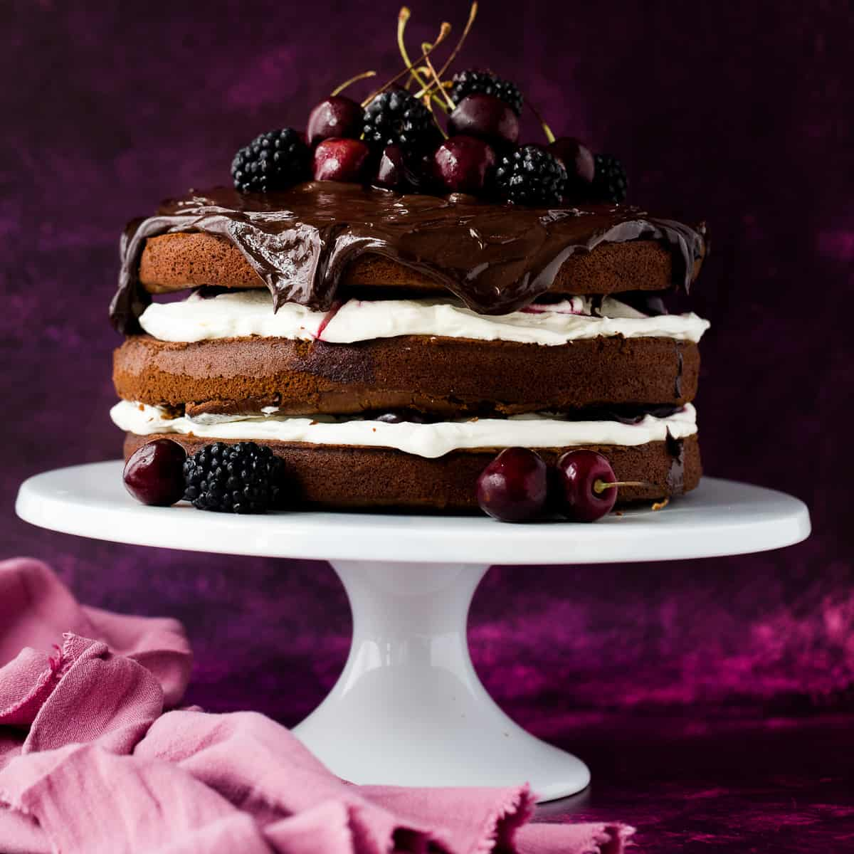 A 3 layer chocolate Black Forest Cake.