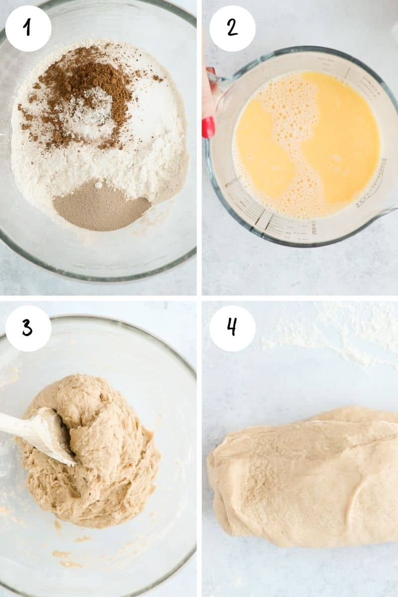 Step by step images showing how to make enriched yeast risen dough.