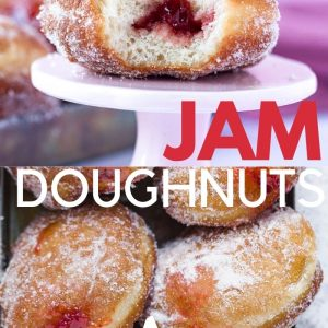 Pinterest image with two different pictures of yeast risen doughnuts and a text overlay.